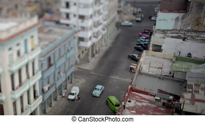 tilt and shift timelapse looking down onto the street in...