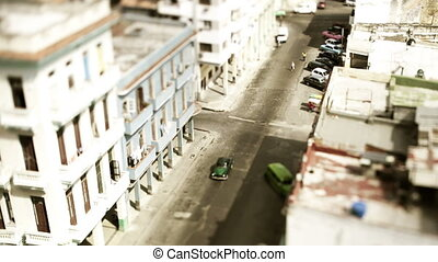 tilt and shift timelapse of a street scene in havana, cuba