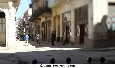 tilt and shift video of a havana street scene, cuba