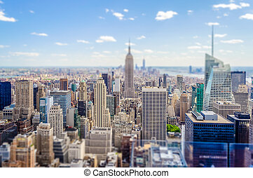 tilt-shift, 応用, 航空写真, 効果, skyline., マンハッタン, 光景