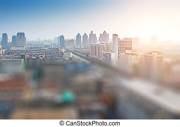tilt-shift, 都市, 航空写真, 効果, 光景