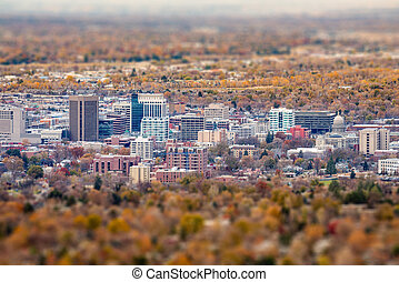 Tilt Shift affect on city of Boise with fall colors - Boise...