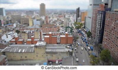 Tilt Shift Bogota Cityscape - Tilt shift view of Bogota,...
