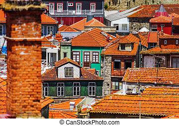 tilt-shift, centre ville, vieux, porto, coloré, miniature, portugal, vue