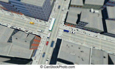 Tilt shift of walking people and traffic in the city