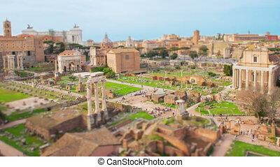 Tilt shift time lapse Roman Forum