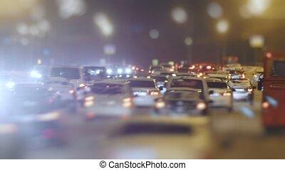 Tilt Shift Time Lapse Traffic on snow winter highway,...