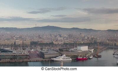 Tilt shift timelapse of commercial port and city of ...