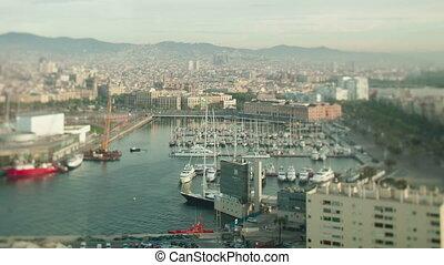 Tilt shift timelapse of port in Barcelona, Spain - Tiltshift...