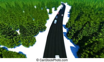 Tilt shift truck traffic in the forest road 3D