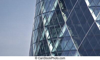 Tilt up footage of The Gherkin building, London, England, UK...