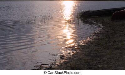 Tilt up of the sunrise on the Missouri River in Montana