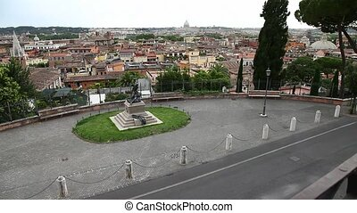 tilt up Rome skyline - tilt up aerial view of Rome skyline...