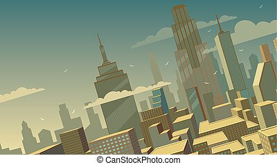 Tilted Cartoon Cityscape