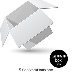 Tilted gray cardboard box with a shadow on a white...