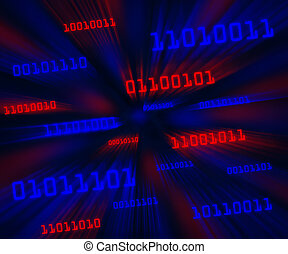 Tilted red and blue bytes of binary code flying through a vortex. Horizontal