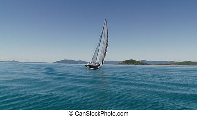 Tilted sailboat but still sailing - An extreme slow motion...