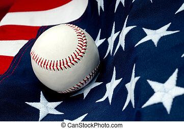 tiltewd, vlag, honkbal, amerikaan, aanzicht