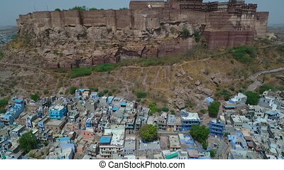 Tilting Up To Mehrangarh Fort - Drone, exterior, extreme ...