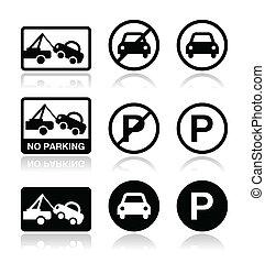 tiltott, aláír, várakozás, parkolni tilos