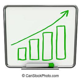 tilvækst, barer, og, pil, på, tør udviske planke, hos,...