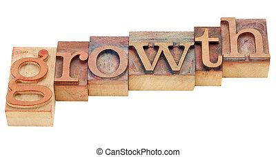 tilvækst, ind, letterpress, type