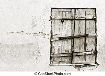 Timber hatch or shutter with heart inside it - Old wood made...
