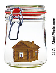 timber house in glass jar