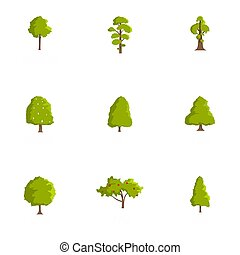 Timber icons set, cartoon style