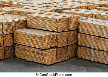 Timber in stock - Wooden planks in stock. Lumber billet