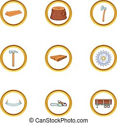 Timber industry icon set, cartoon style