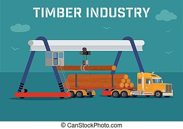 Overhead crane loads a logs in the truck. Vector banner.