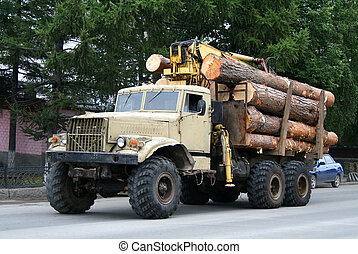 Timber lorry - An old beige timber lorry