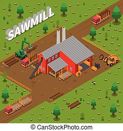 Timber Mill Lumberjack Isometric Composition - Colored...