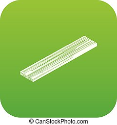 Timber plank icon green vector isolated on white background