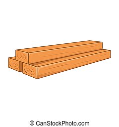 Timber planks icon, cartoon style