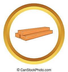 Timber planks vector icon in golden circle, cartoon style...