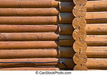 timber., registro, parede, liso, seção, manchado, house., detalhe, madeira pinho, sawn, close-up.