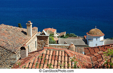 Timber roofs of old byzantine town Monemvasia