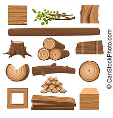 Stacked timbers and firewood logs - Timber set. Stacked ...