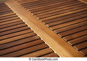 Timber Slats - Thin timber slats form repeating patterns on...