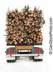 Timber truck - Back of truck loaded with timber, isolatd on...