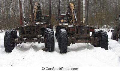 timber trucks parked