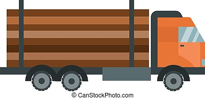 Timber wood truck  illustration isolated
