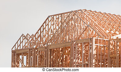 Timber Work - Townhome construction with wood framing.