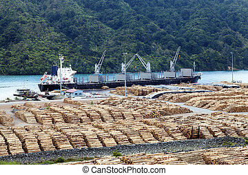 Timber yard - Timber is ready for shipping at a dock in New...