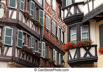 timbered, häusser, frankreich, colmar, elsaß, hälfte