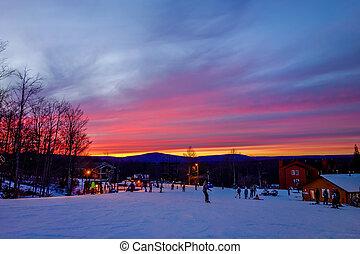 timberline, ouest, sur, ciel, virginie, recours, coucher soleil, ardent, ski