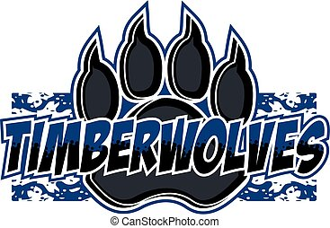 timberwolves team design with large wolf claw