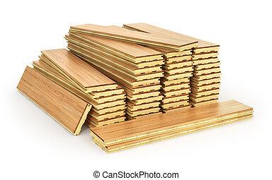 timberwork, arrière-plan., menuiserie, industrie, travail, pile, isolé, illustration, piles, bois, bois, parquet., blanc, bois construction, planches, concept:, 3d